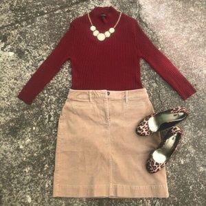 Talbots Soft Brown Corduroy Skirt Size 2P Pockets